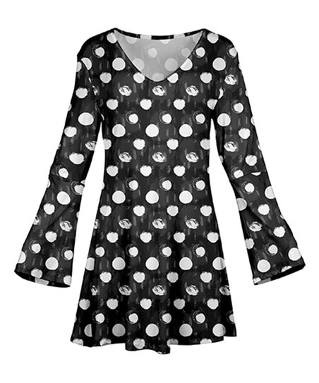 b5f1cd42bc33 love this product Black & White Polka Dot Long-Sleeve Tunic - Plus