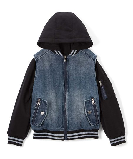 Urban Republic Black Medium Wash Hooded Denim Jacket Boys Zulily