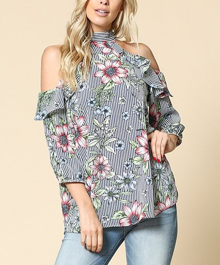 82fc7fffbb9ee love this product Blue Floral Stripe Off-Shoulder Top - Women