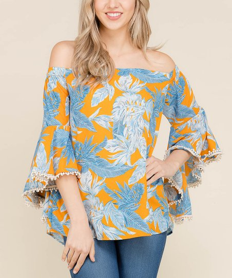 6ae55fd36b643 love this product Blue Floral Bell-Sleeve Off-Shoulder Top - Women