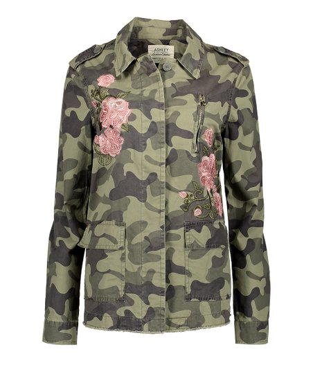 d94cf75c825a8 Ashley by 26 international Black Camo Floral Embroidered Anorak ...