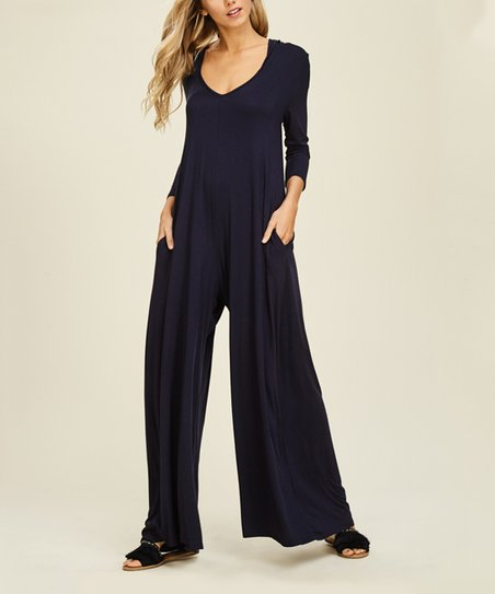 85f2bebb6ad love this product Navy Hooded Palazzo Jumpsuit