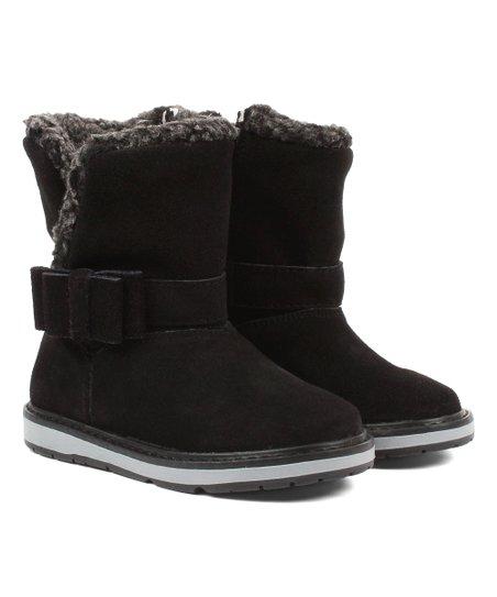 1695b2da3 Dogi Kids Footwear Black Rosetta Leather Boot - Girls