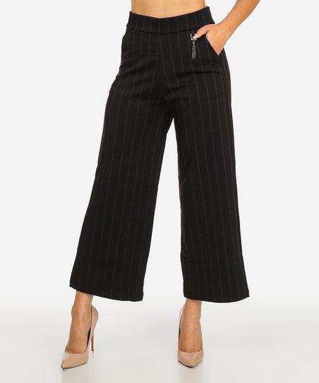 C Mode Black Pinstripe Wide Leg Crop Pants Juniors Zulily