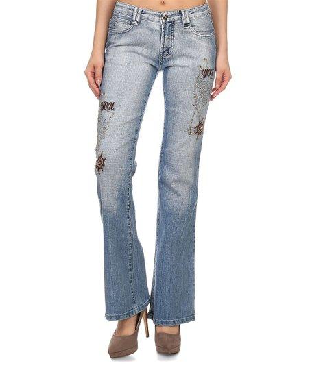 7695828b61 Fashion Hunter Light Blue Embroidered Denim Bootcut Jeans