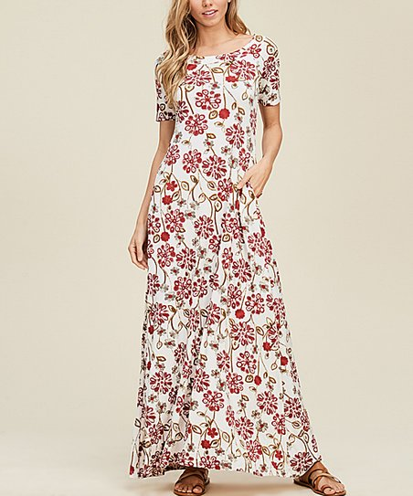 457cf4c5eb7 love this product Off-White Floral Pocket Crisscross-Back Maxi Dress - Women
