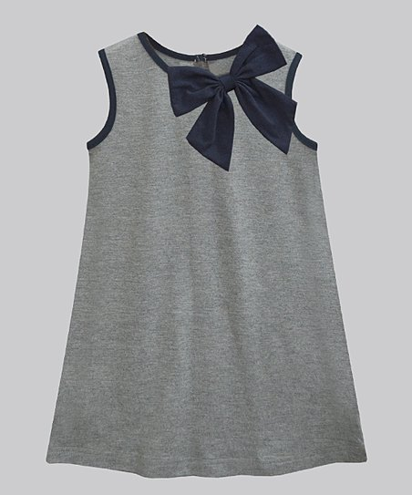 7e22bb7d868 A.T.U.N. Gray Melange   Navy Bow Suzy Dress - Girls