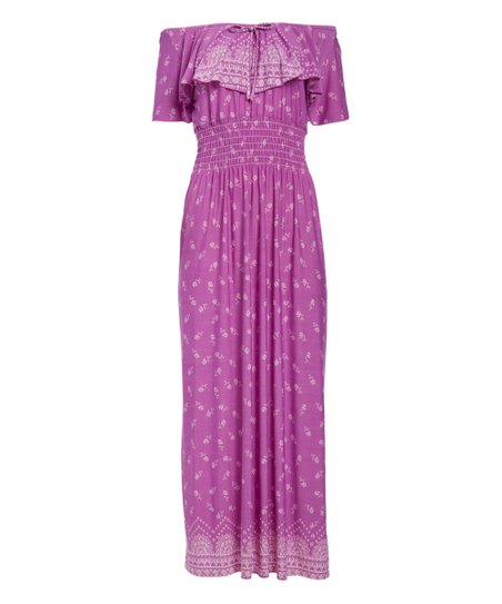 31a97e3dec5f love this product Purple   White Floral Off-Shoulder Maxi Dress - Women