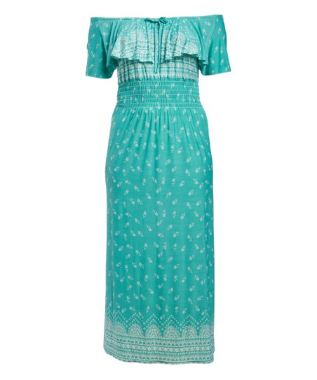 1e9e41888a85 love this product Turquoise   White Arabesque Off-Shoulder Dress - Plus