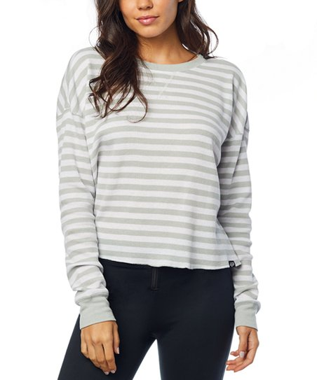 1b89bbdd183 Fox Gray & White Striped Out Thermal Long-Sleeve Crop Top - Women