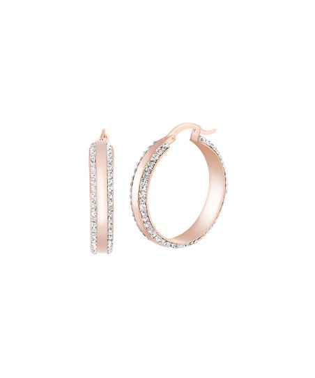 73edd1e50 Lesa Michele 14k Rose Gold-Plated Hoop Earrings With Swarovski ...