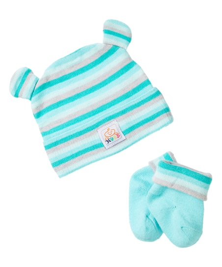 1c532484c5f love this product NYGB Sea Green   White Stripe Bear-Ear Beanie and Booties  - Newborn