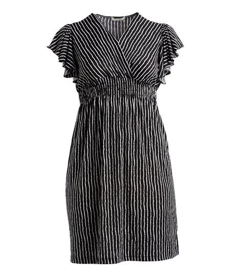 Jon Anna Black White Stripe Flutter Sleeve Surplice Dress