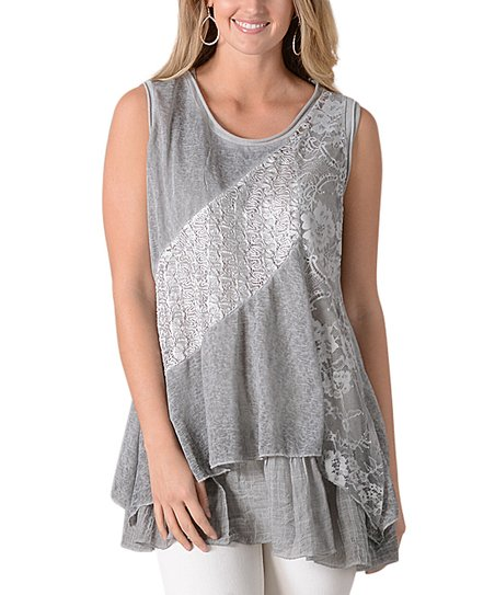 5bbdd97877399 Simply Couture Gray Floral Lace Asymmetrical Sleeveless Top - Women ...