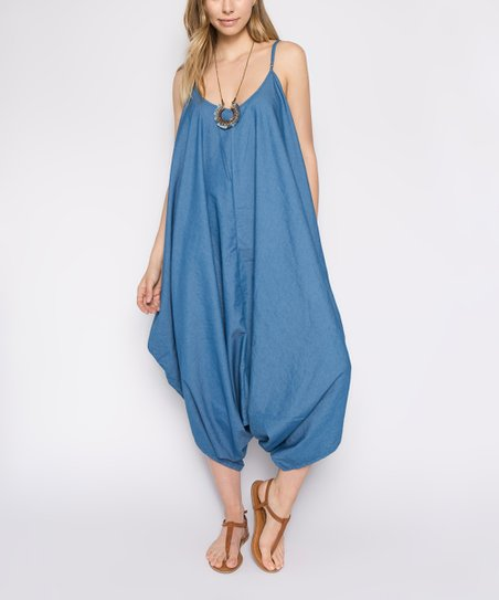 dca4c8e84a8c American Bazi Blue Baggy Chambray Jumpsuit - Women