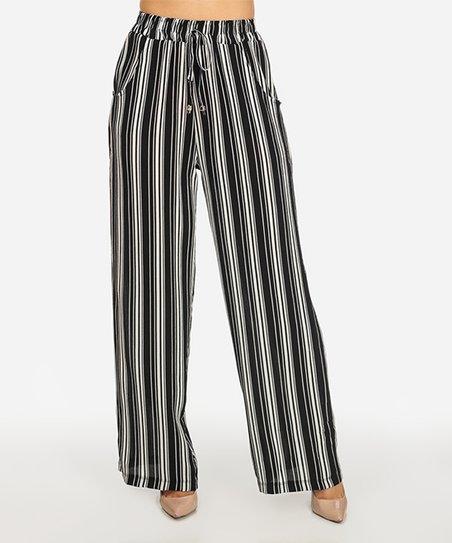 New Mix Black White Stripe Palazzo Pants Juniors Zulily