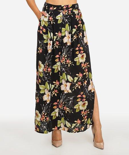 e5954292aec Red Leaf Black Floral High-Waist Button-Up Maxi Skirt - Juniors