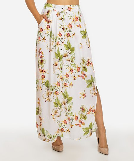 d9bfd1a83f love this product White Floral High-Waist Button-Up Maxi Skirt - Juniors