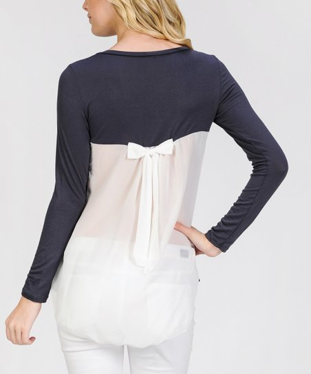 00d9815e39 love this product Dark Gray   White Bow-Back Boat Neck Tunic - Women