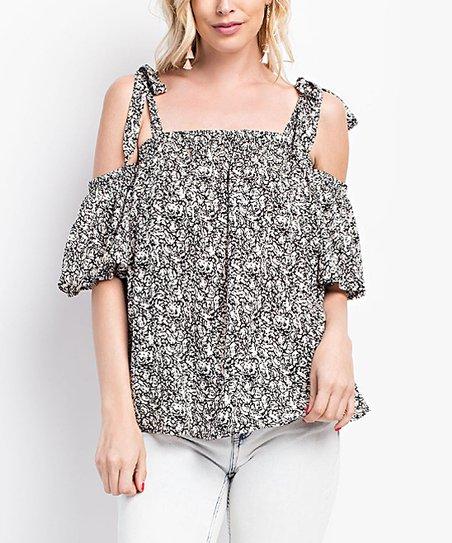 b1ea0f392cb021 love this product Black Floral Strap-Tie Off-Shoulder Top - Women