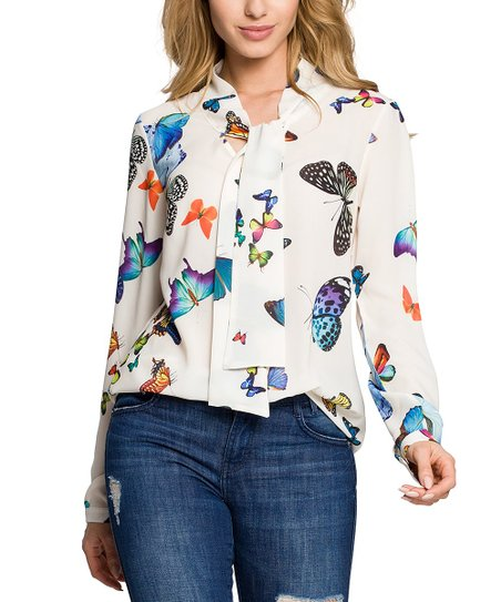 Made Of Emotion Ecru Butterfly Tie Front Blouse Women Zulily