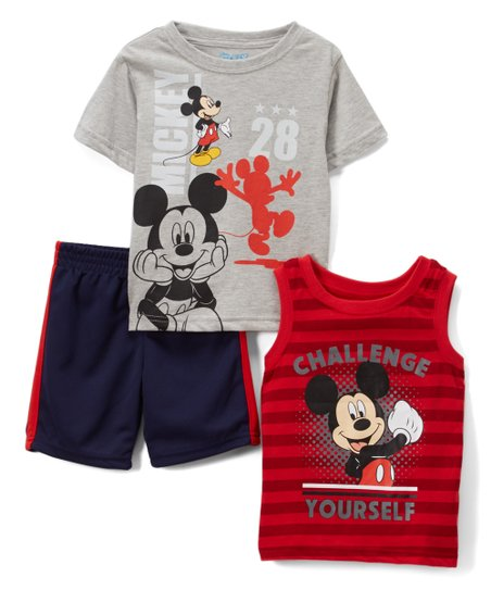 eb94764e20f5 Childrens Apparel Network Mickey Mouse Gray Tee Set - Boys | Zulily