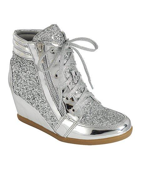 Silver Peggy Wedge Sneaker - Women