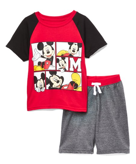 bff22a6a093d Childrens Apparel Network Mickey Mouse Gray & Red Tee & Shorts ...