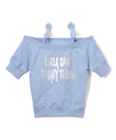 cc7854e6a6e87 love this product Blue   Silver  Girls Can Do Anything  Off-Shoulder Top -  Girls