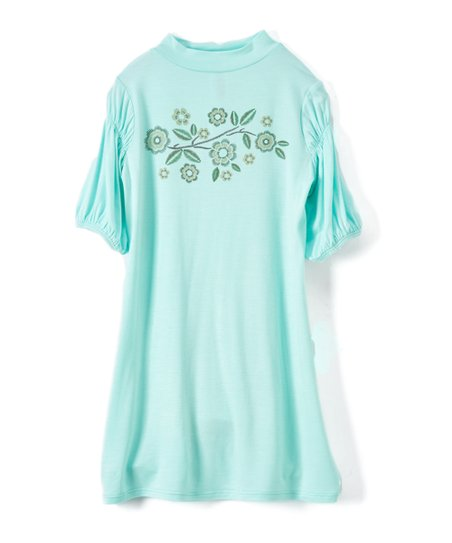 c905d78c5 love this product Mint Flower Bubble-Sleeve Shift Dress - Toddler & Girls
