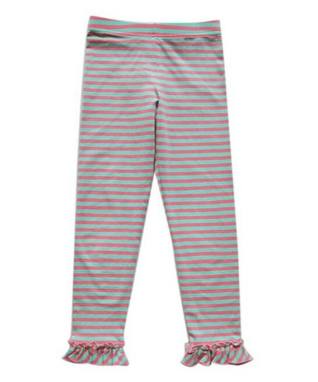 f60b247e419c5 Giovanna & Felice Pink & Green Stripe Ruffle-Hem Leggings - Girls ...
