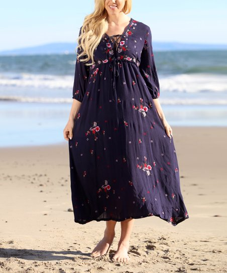 a798c6eb5bc8 Anandas Collection Navy Floral Tie-Front Maxi Dress - Women