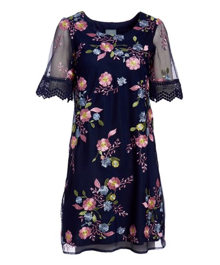 Rabbit Rabbit Rabbit Designs Navy Floral Lace Sleeve Shift Dress Women Zulily,Matching King And Queen Crown Tattoo Designs