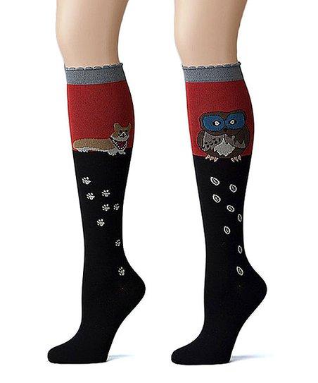 8a35f43059b love this product Black   Red Barn Owl   Corgi 5-10 mmHg Knee-High Socks Set  - Women