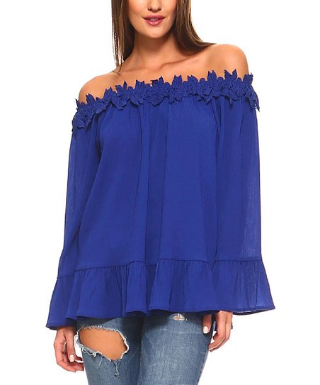 2418fbb63485 love this product Royal Blue Ruffle Floral-Lace Off-Shoulder Top - Plus Too
