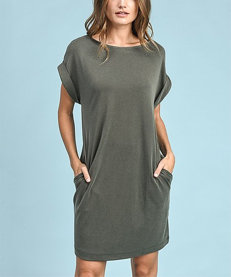 love this product Olive Side-Pocket Cuffed-Sleeve T-Shirt Dress 399a9c3fa5