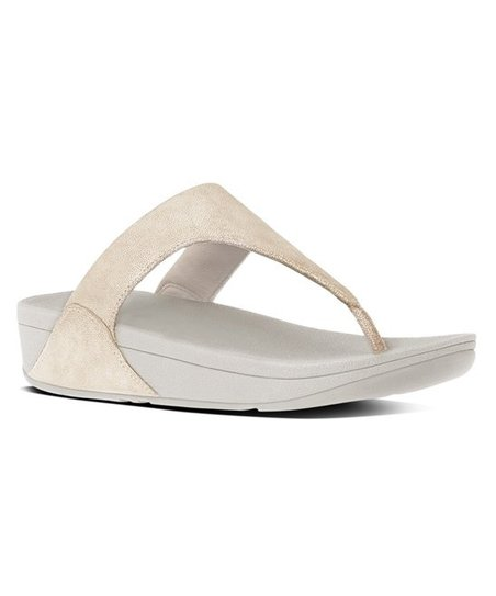 8a1148f5d7b3 love this product Pale Gold Shimmy Suede Toe-Post Sandal - Women