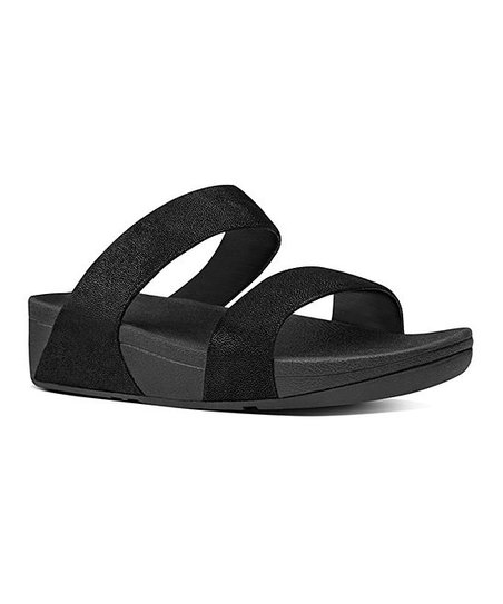 9ab02a3abce FitFlop Black Glimmer Shimmy Suede Slide - Women