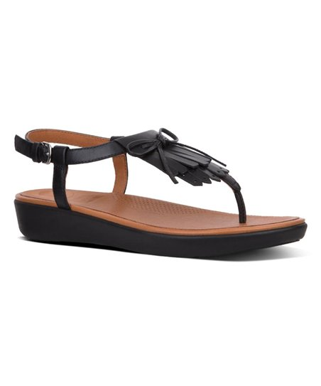 8710da09f0bd FitFlop Black Tia Fringe Toe-Thong Leather Sandal - Women