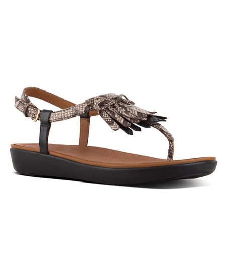 1dd85ac6fbfc love this product Taupe Snake   Black Tia Fringe Leather Toe-Thong Sandal -  Women