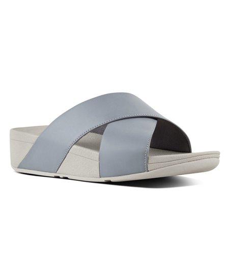 e1537e41da52 FitFlop Dove Blue Lulu Cross Leather Slide - Women
