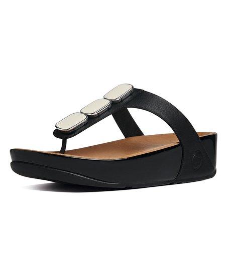 74c7f4e962d4 FitFlop Black Pietra II Leather Sandal - Women