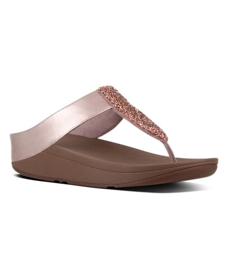 509ba498deb69 love this product Rose Gold Sparklie Crystal Leather Toe-Post Sandal - Women