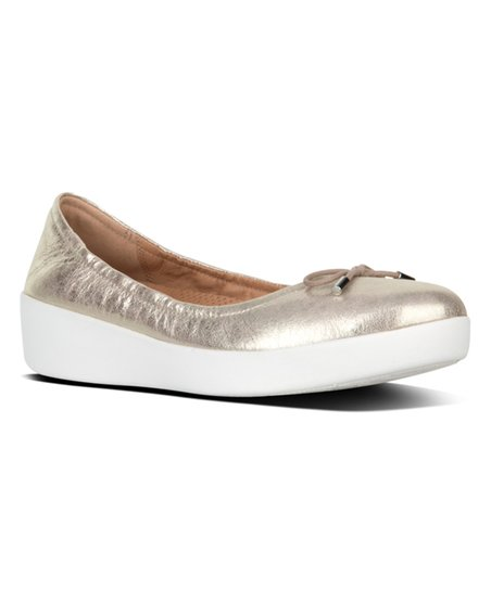 c7a6573c1015 love this product Metallic Silver Superbendy Leather Ballet Flat - Women