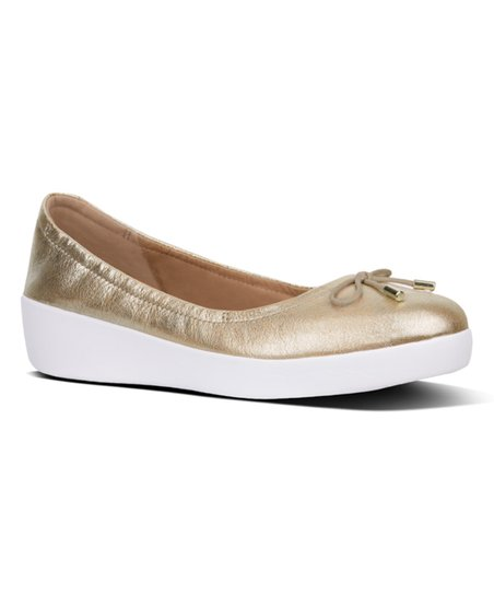 7bea88d4a2b5 love this product Metallic Gold Superbendy Leather Ballet Flat - Women