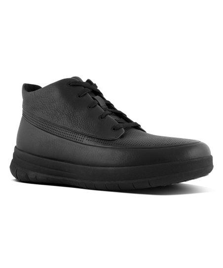b6fd18c3e16 FitFlop All Black Sporty-Pop Softy Leather Hi-Top Sneaker - Men