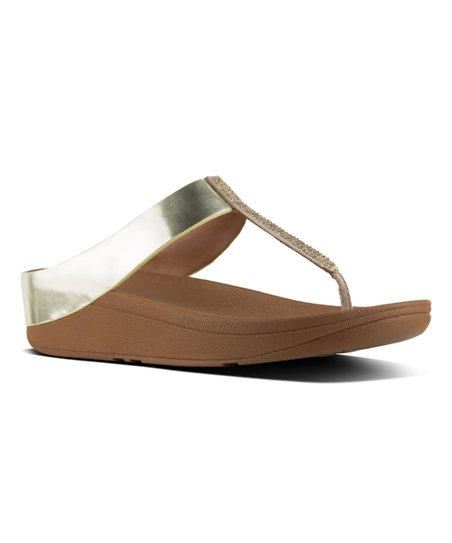 65ddf25be FitFlop Gold Fino Crystal Leather Toe-Thong Sandal - Women