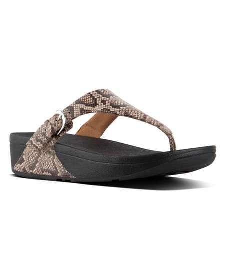 a8ebc87c9838 love this product Taupe Snake Skinny Toe-Thong Sandals - Snake-Print Leather