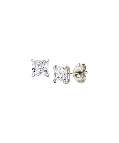 e5c112b4c Moricci 14k White Gold Princess-Cut Stud Earrings With Swarovski ...