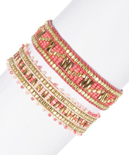 503e605a203a Pink House Coral   Light Pink Color Love Adjustable Bracelet Set ...